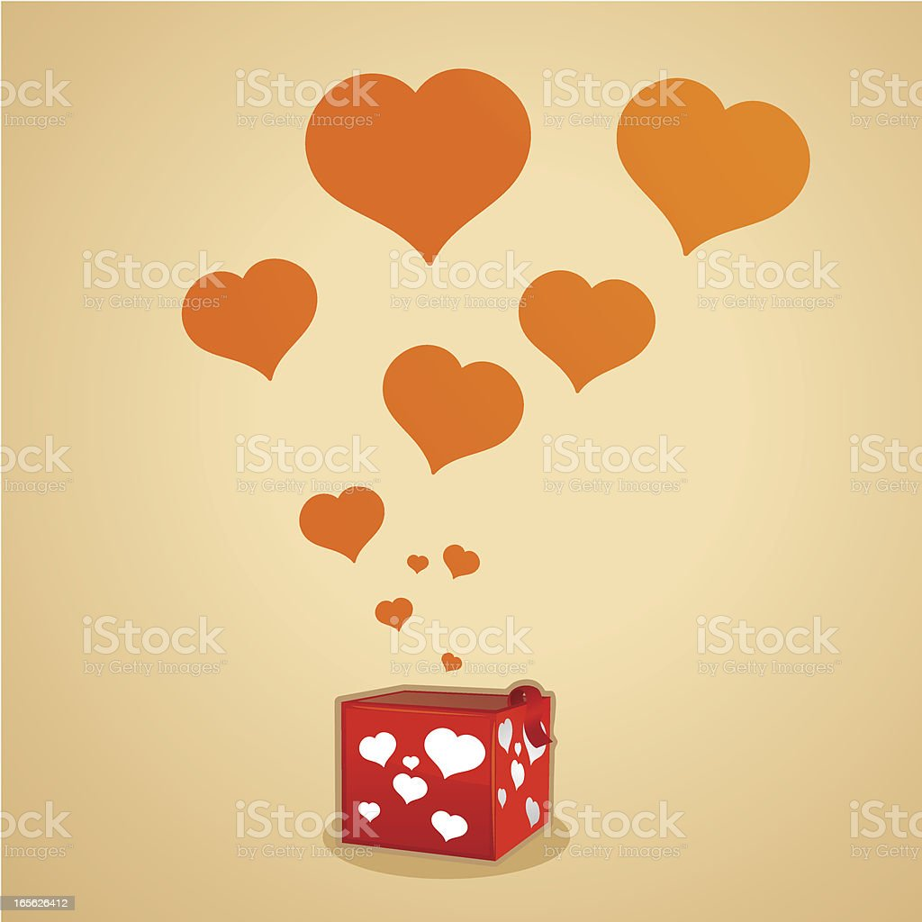 Valentines Day Gift Box vector art illustration