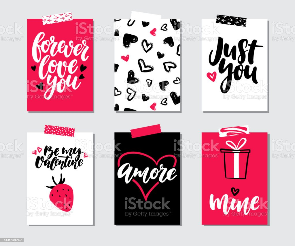 Valentines Day Gift Card Vector Set Hand Drawn Printable Templates ...