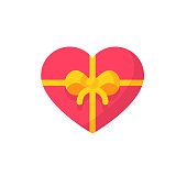 Valentine's Day Gift Flat Icon. Pixel Perfect. For Mobile and Web.