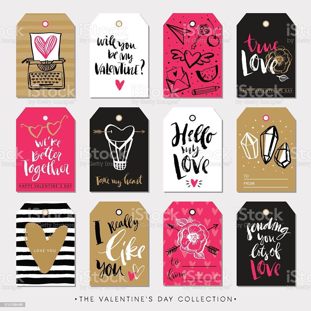 Valentinstag Geschenk-tags und Karten. Kalligrafie handgezeichnet Gestaltung. – Vektorgrafik