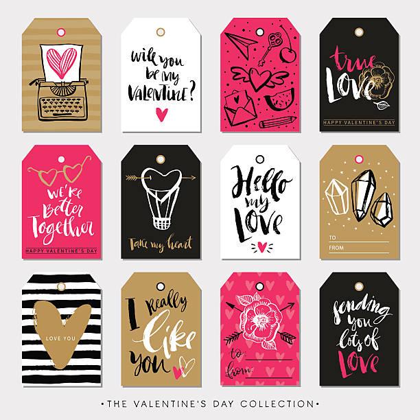 valentinstag geschenk-tags und karten. kalligrafie handgezeichnet gestaltung. - graffiti schriftarten stock-grafiken, -clipart, -cartoons und -symbole
