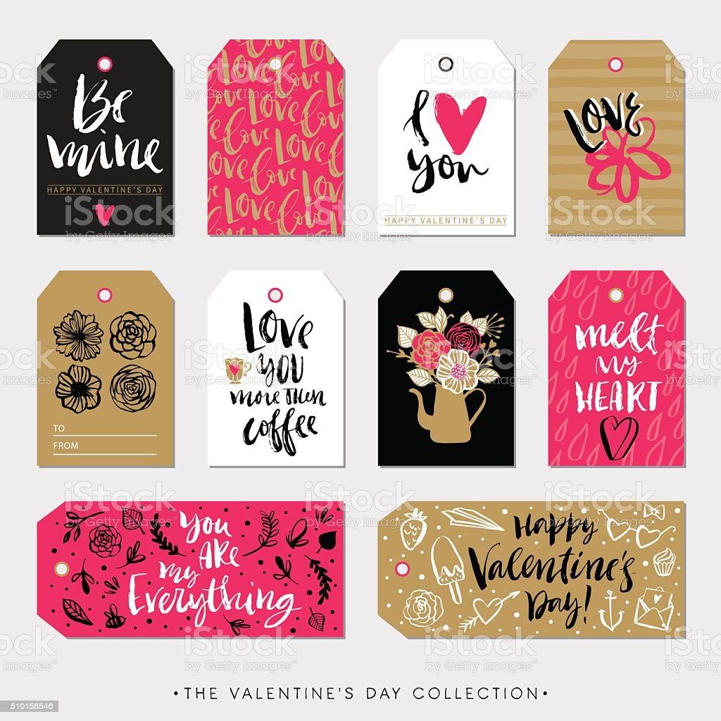 Valentines day gift tags and cards. Calligraphy hand drawn design. vector art illustration