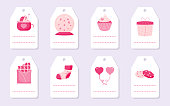 Set of cute love romantic gift tags with pink hearts, cupcake balloon and chocolate. Valentines Day cards and labels with place for text. Background templates for greeting stickers Vector illustration