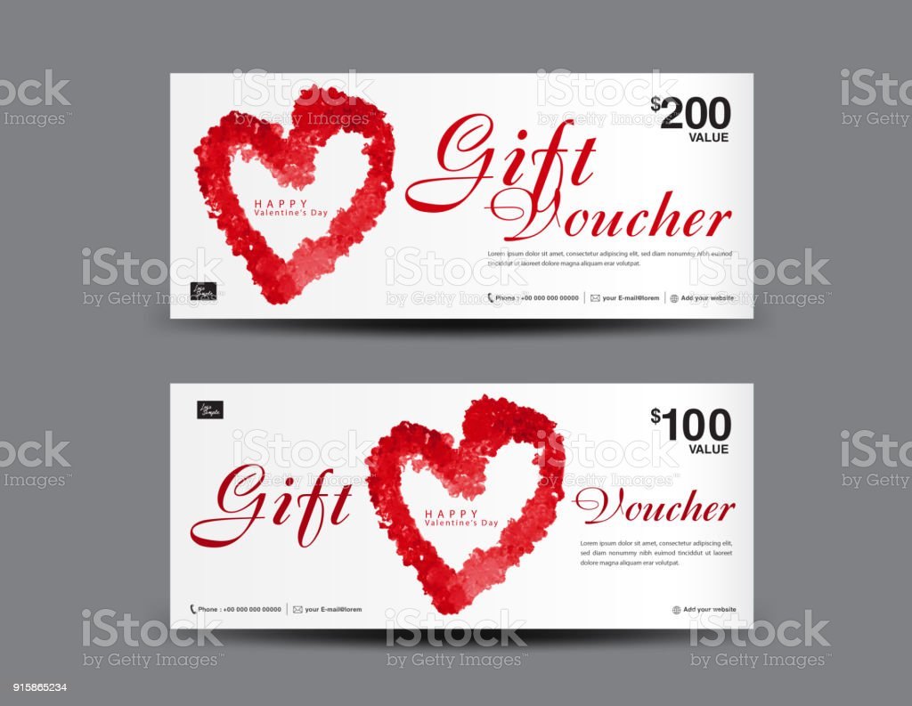 Valentines Day Gift Voucher Template Layout Business Flyer Design