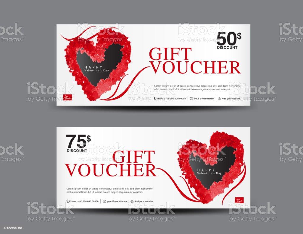 Valentinstag Geschenkgutschein Vorlage Layout Businessflyerdesign ...