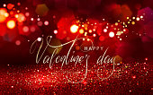 Valentine's day glitter light background with lettering for your design of flyer, card, banner, poster, invitation