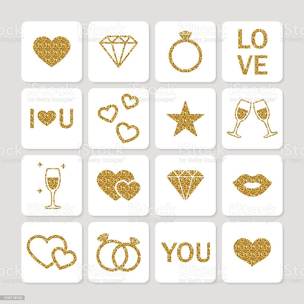 Valentine's day golden glitter design elements set. vector art illustration