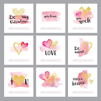 Valentines day golden hearts