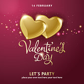 Celebrate the Valentine's Day with shiny golden hearts on the red background