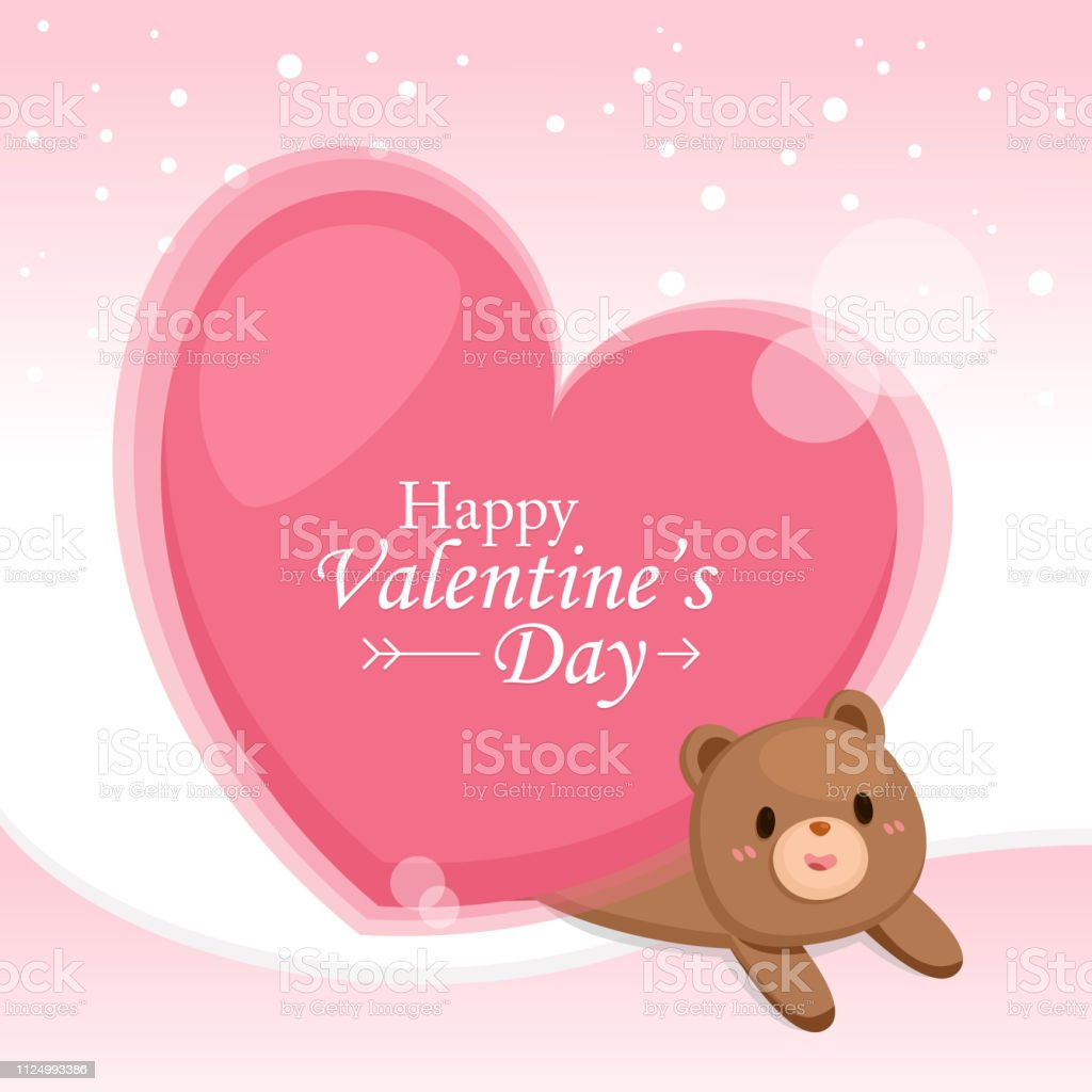 Valentine's Day Greeting card. Big heart with cute bear on pink background.