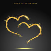 Valentine's day greeting card confetti gold heart. Vector.