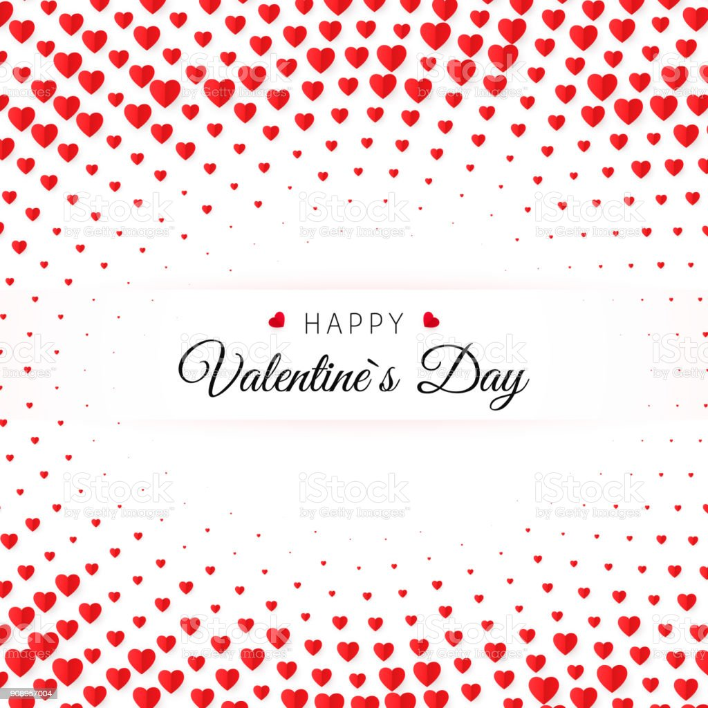 Valentines Day Greeting Card Halftone Confetti Red Heart On White ...