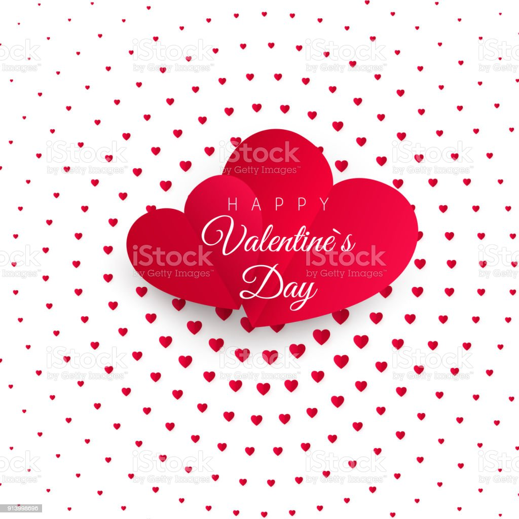 Valentines Day Greeting Card Halftone Confetti Red Heart On White