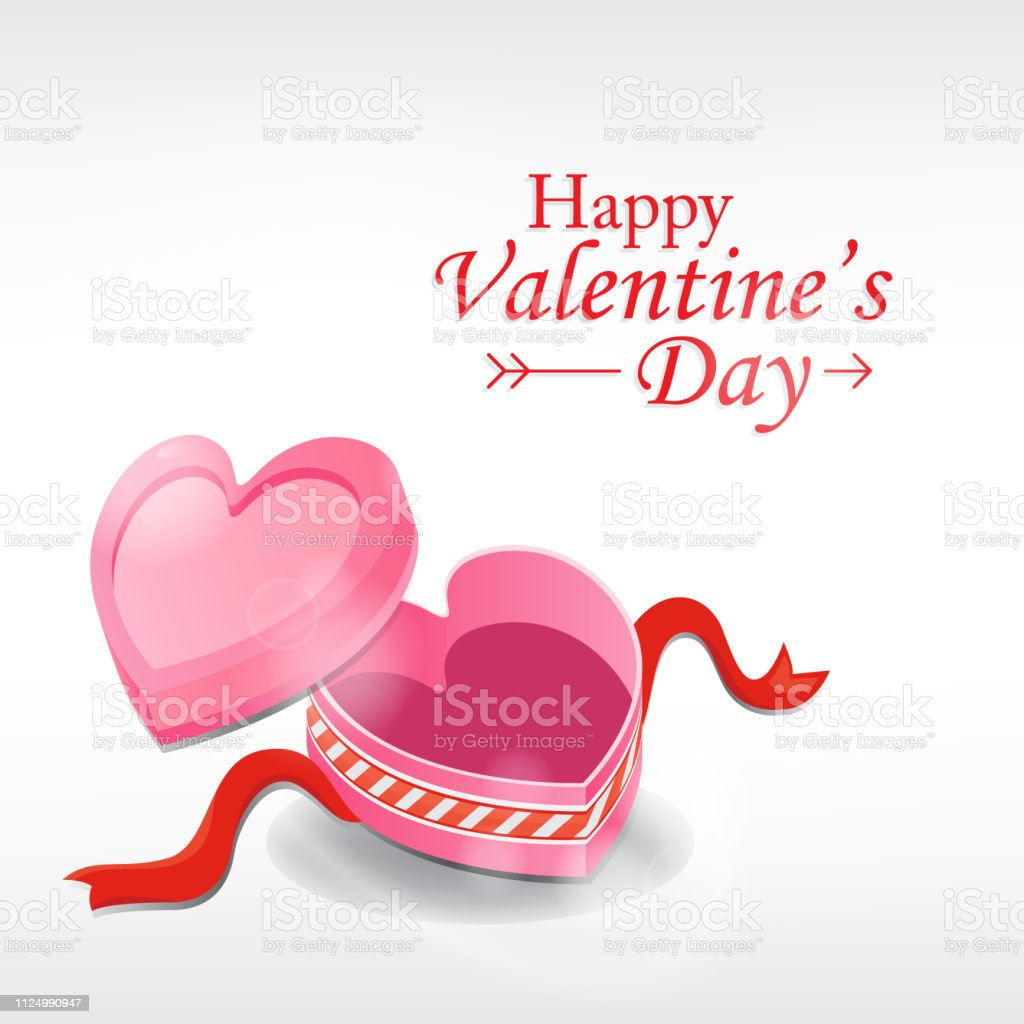 Valentine's Day Greeting card. Heart box on white background.