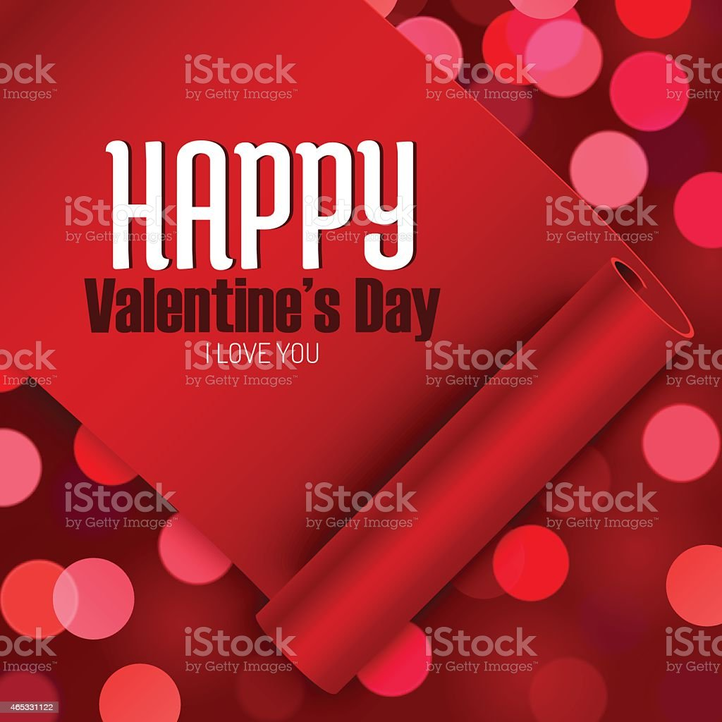 Valentines Day Greeting Card Love Message On Red Ribbon Stock Vector