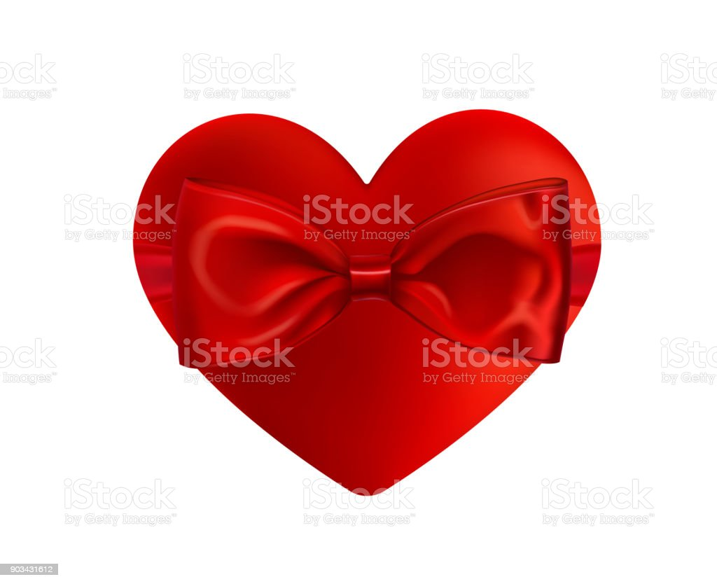 Valentines Day Greeting Card Realistic 3d Red Heart Shape Holiday