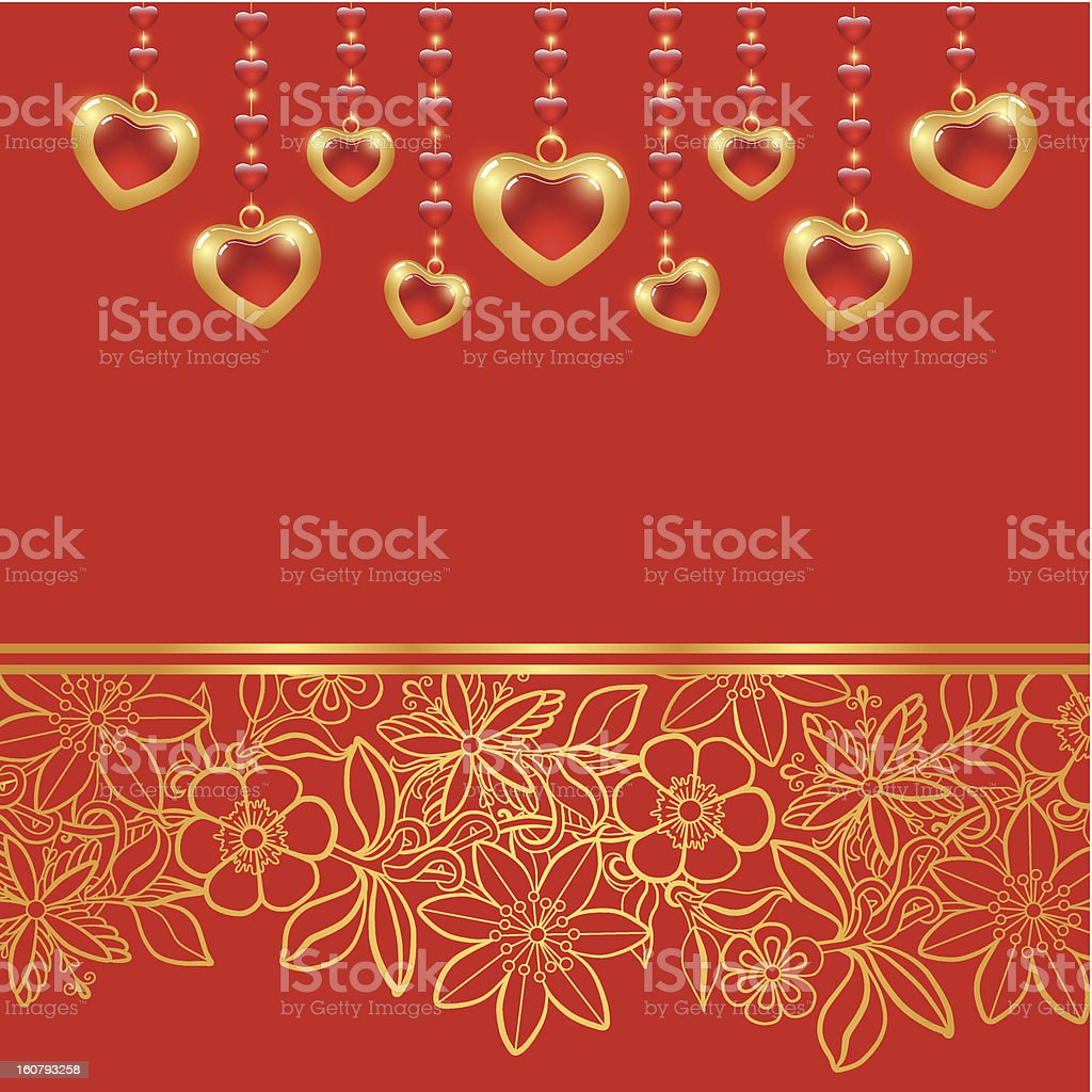 Valentines day greeting card. Red background royalty-free stock vector art