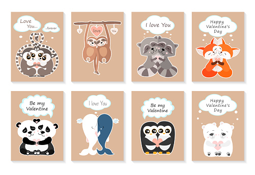 Valentine's day greeting card set with cute animals. Hugging lemurs, sloths, raccoons, foxes, pandas, whales, penguins, polar bears. I love you. Be my Valentine. Vector illustration
