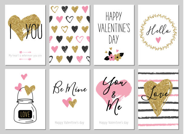 valentine's day greeting card set with hearts. gift tags with gold glitter texture. - valentine card stock illustrations