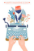 Valentine's day greeting card. Typewriter with flowers. Hands writing on a typewriter. Vector illustration on white background.