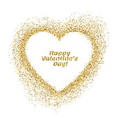 Valentines day greeting card. Vector gold sparkles heart