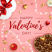 Valentine's Day greeting card template. Vector illustration with heart sweets top view. Realistic holiday golden design on pink background