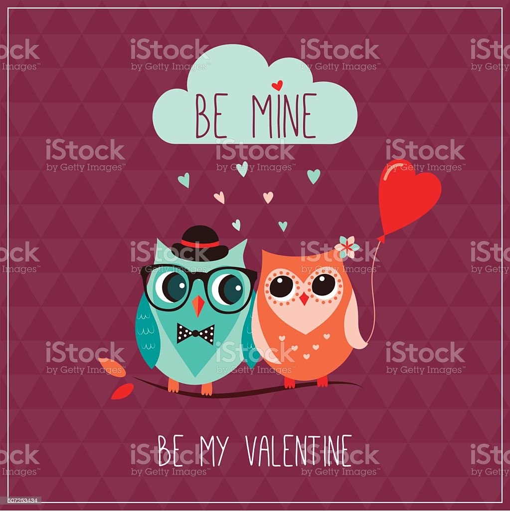 Valentine's day greeting card vector art illustration