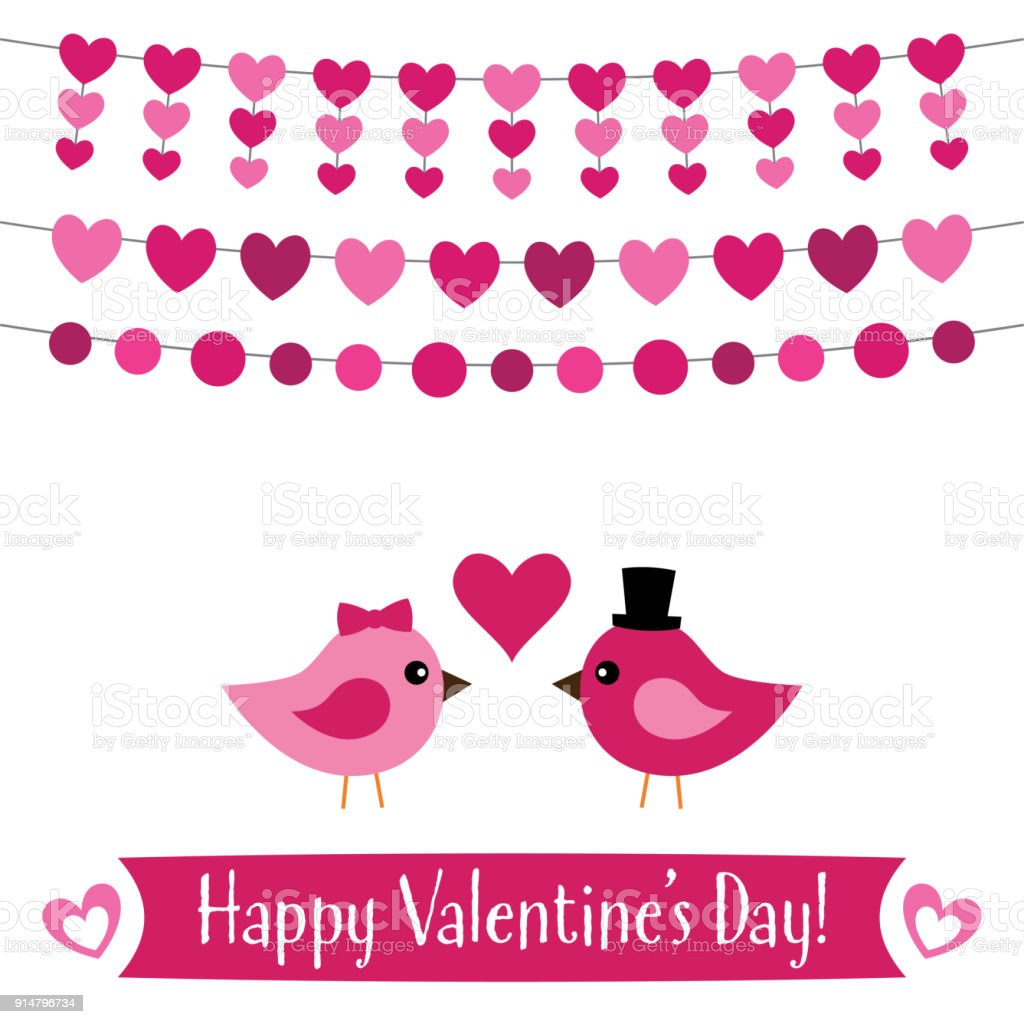 Valentines Day Greeting Card With A Cute Birds Couple Stock Vector