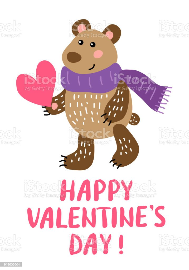 Valentines Day Greeting Card With Bear Stock Vector Art More