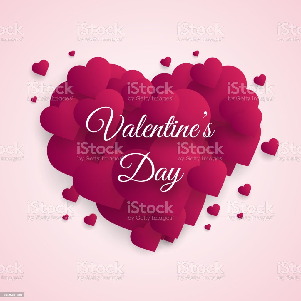 Valentines Day Greeting Card With Cut Paper Hearts Vector Stock
