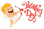 Valentines Day greeting card with cute cupid holding bow and arrow