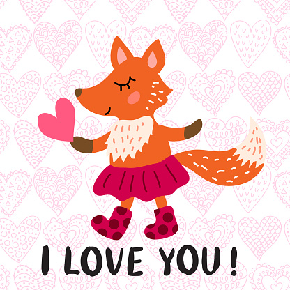 Valentine's day greeting card with fox