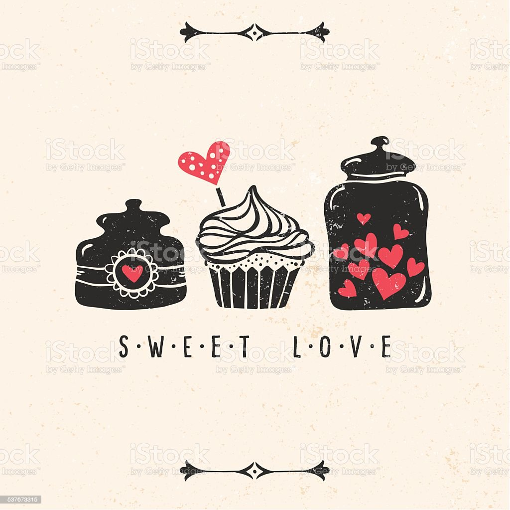 Valentine's day greeting card with heart, cupcake, jar, vector art illustration