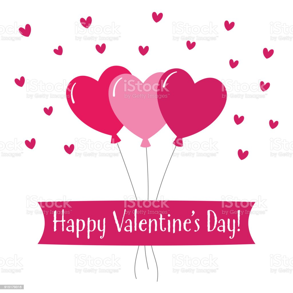 Valentines Day Greeting Card With Hearts Balloons Stock Vector Art