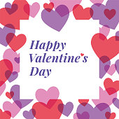 Valentine's Day greeting card with hearts frame. Stock illustration.