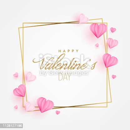 istock Valentine's Day Greeting Card with Hearts paper cut style. Invitation Card Layout Template Design. Vector Illustration 1128127196