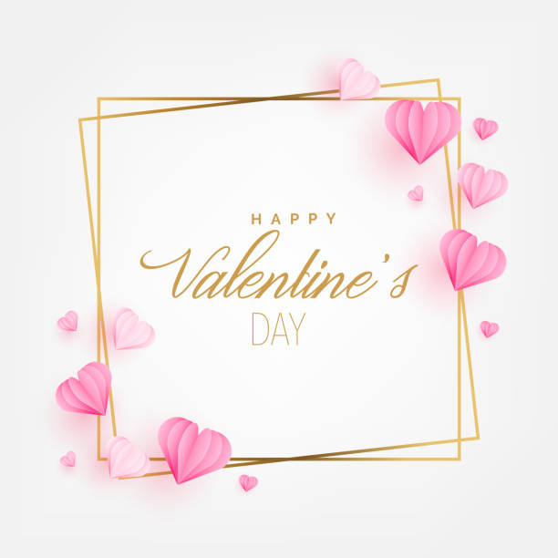 illustrations, cliparts, dessins animés et icônes de carte de voeux saint valentin avec papier coeurs coupés style. invitation carte layout template design. illustration vectorielle - saint valentin