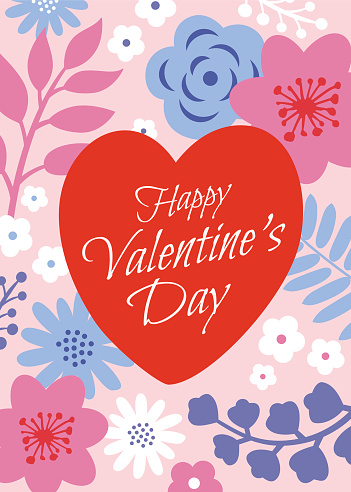 Valentine's Day greeting card with hearts.