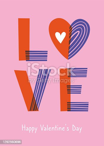istock Valentine's Day greeting card with hearts. 1292560696