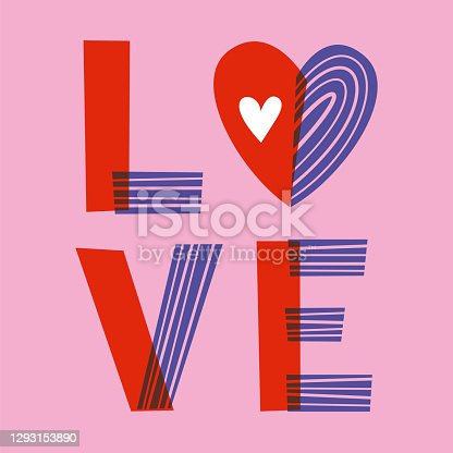 istock Valentine's Day greeting card with hearts. 1293153890