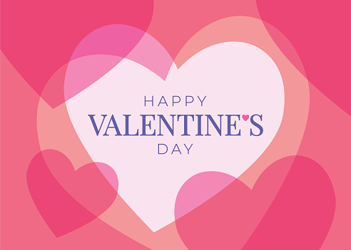 Valentines Day greeting card with hearts.