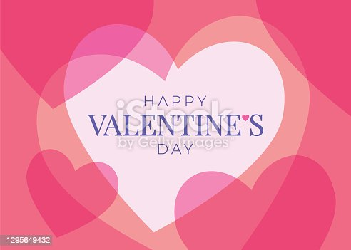istock Valentines Day greeting card with hearts. 1295649432