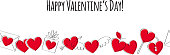 Valentine's day greeting card with love symbols seamless border. Doodle style.
