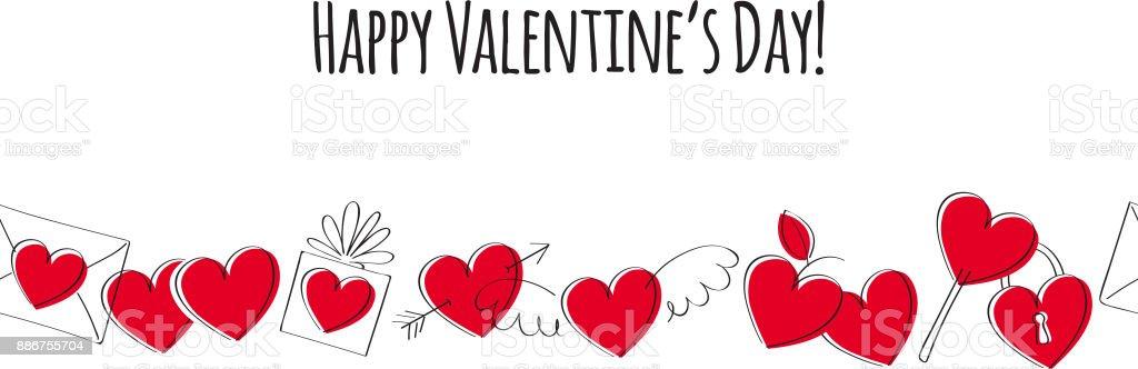 愛のシンボルとバレンタインのグリーティング カード。落書きスタイル ベクターアートイラスト