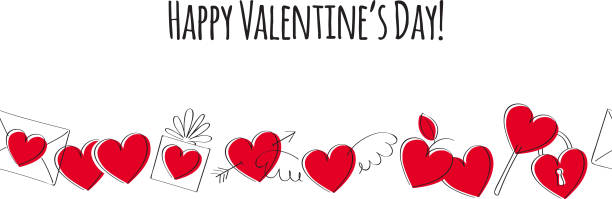 valentine's day greeting card with love symbols. doodle style - valentine's day holiday stock illustrations