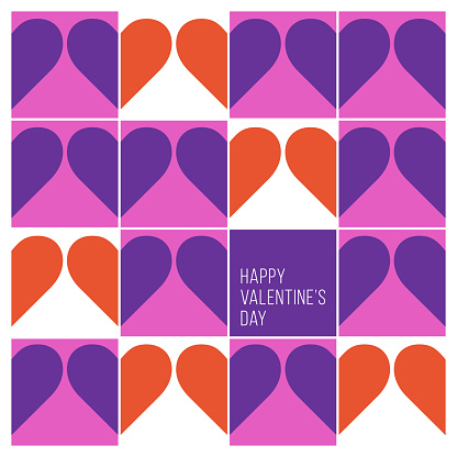 Valentine's Day greeting card with modern geometric background.
