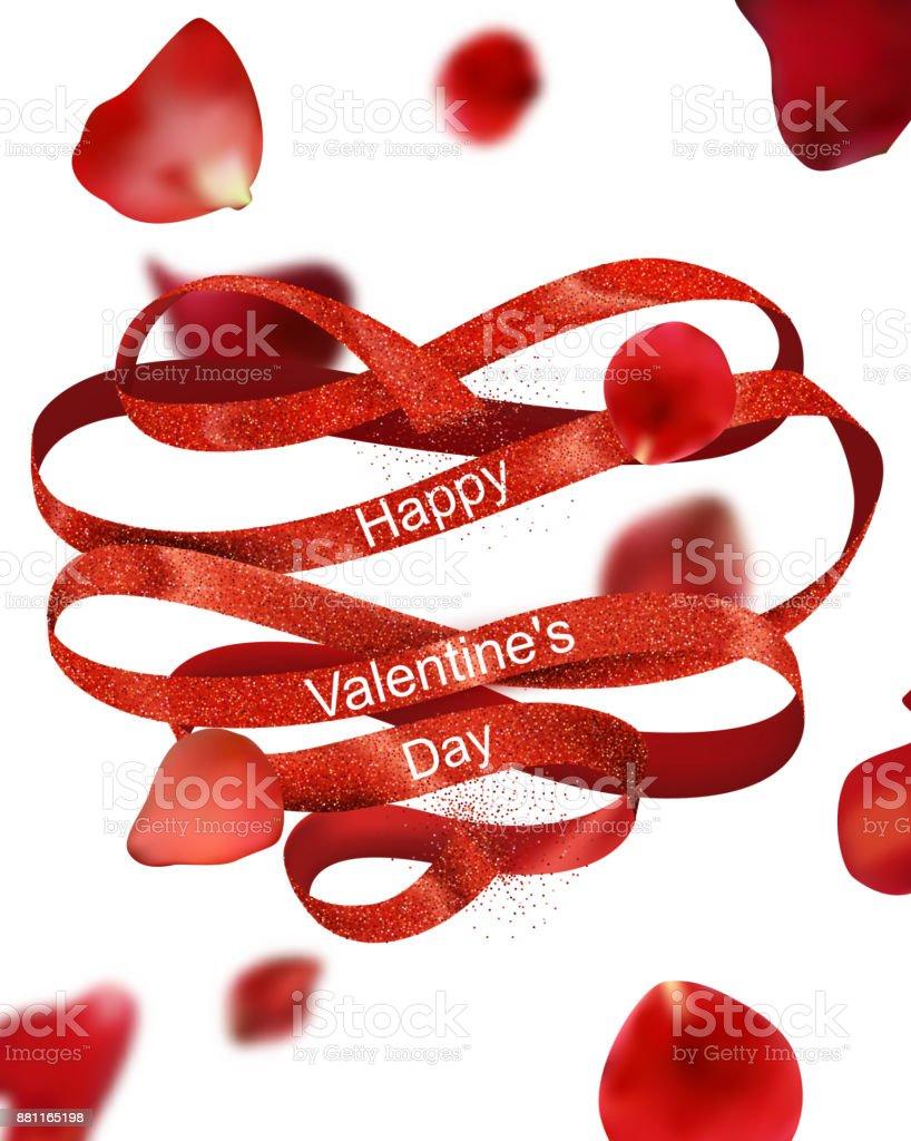 Carte de voeux Saint Valentin avec ruban bouclé rouge et rose rouge, pétales de vol - Illustration vectorielle