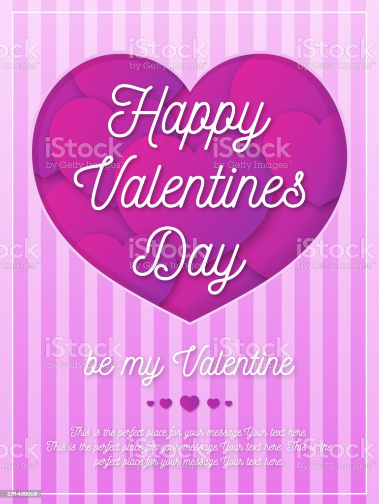 Valentines Day Greeting Card With Romantic Sign On Background With