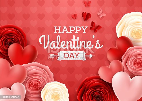 illustration of Valentines day greeting card with rose flower and hearts background