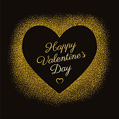 Valentine's day greeting card with sparkles gold heart on black background. Illustration